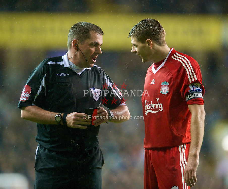 LONDON, ENGLAND - Saturday, November 1, 2008: Liverpool's captain Steven Gerrard MBE and referee xxxx during the Premiership match at White Hart Lane. (Photo by David Rawcliffe/Propaganda)