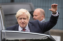 © Licensed to London News Pictures. 10/09/2019. London, UK. British Prime Minister BORIS JOHNSON waves as he leaves a school in Pimlico, west London. PM Johnson Last night prorogued Parliament in the run up to Britain's planned Brexit deadline of October 31st. Photo credit: Peter Macdiarmid/LNP