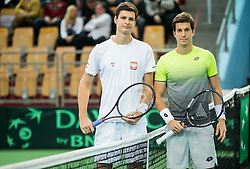 Hubert Hurkacz of Poland and Aljaz Bedene of Slovenia during the Day 1 of Davis Cup 2018 Europe/Africa zone Group II between Slovenia and Poland, on February 3, 2018 in Arena Lukna, Maribor, Slovenia. Photo by Vid Ponikvar / Sportida