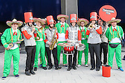 England fans with the Yorkshire Tea band during the 3rd Investec Ashes Test match between England and Australia at Edgbaston, Birmingham, United Kingdom on 30 July 2015. Photo by Shane Healey.