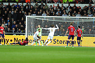 Swansea city's Wayne Routledge (15) scores his sides 2nd goal. Barclays Premier league, Swansea city v West Bromwich Albion at the Liberty Stadium in Swansea on Wednesday 28th November 2012. pic by Andrew Orchard, Andrew Orchard sports photography,