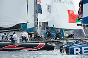 Emirates Team New Zealand, day three of the Cardiff Extreme Sailing Series Regatta. 24/8/2014