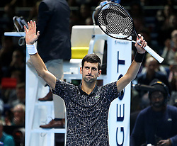 November 14, 2018 - Londres, Angleterre - Serbia's Novak Djokovic (SRB) celebrating his winning second round robin match of The Nitto ATP Finals 2018 at  The O2 Arena, London (Credit Image: © Panoramic via ZUMA Press)