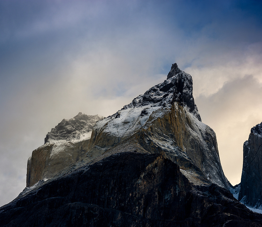 NATIONAL PARK TORRES DEL PAINE, CHILE - CIRCA FEBRUARY 2019: Close up view of the Horns peaks in Torres del Paine National Park, Chile.