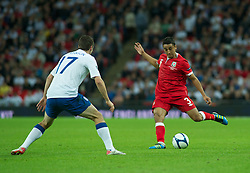 LONDON, ENGLAND - Tuesday, September 6, 2011: Wales' Neil Taylor in action against England during the UEFA Euro 2012 Qualifying Group G match at Wembley Stadium. (Pic by Gareth Davies/Propaganda)
