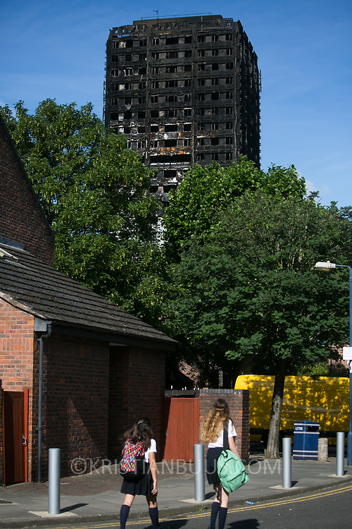 Grenfell Tower burned out after a catastophic fire killing more than 30 people June 16th 2017. The tower caught fire early Wednesday morning and final casualty figueres may end up to be many more with police not expecting to be able to find recover all bodies and to find all missing people. Shoddy building work and cheap cladding is so far blamed for the ferocious fire.