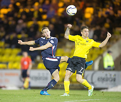Falkirk's Will Vaulks and  Livingston Keaghan Jacobs.<br /> Livingston 0 v 1 Falkirk, Scottish Championship played13/12/2014 at The Energy Assets Arena.