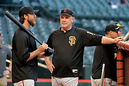 PHOENIX, AZ - APRIL 04:  Madison Bumgarner #40 of the San Francisco Giants talks with manager Bruce Bochy #15 prior to the MLB game against the Arizona Diamondbacks at Chase Field on April 4, 2017 in Phoenix, Arizona.  (Photo by Jennifer Stewart/Getty Images)