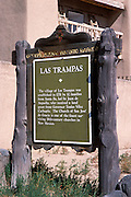 New Mexico historical marker at the Church of San Jose de Gracia de Las Trampas, Las Trampas, New Mexico.
