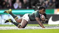 © SPORTZPICS /SECONDS LEFT IMAGES 2010 - Rugby Union - Investec  Internationals  - England v South Africa - 27/11/10 - South Africa's Lwazi Mvovo.runs in and scores the try that sealed Englands fate - at Twickenham Stadium UK -  All rights reserved