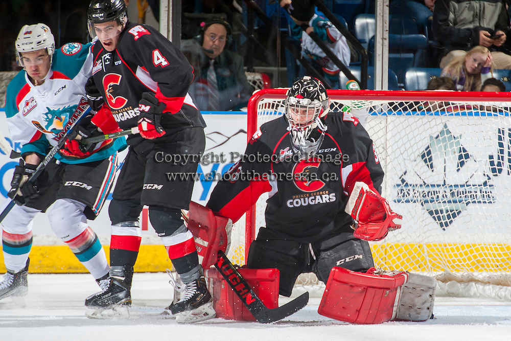 KELOWNA, CANADA - FEBRUARY 18: Nick McBride #33 of the Prince George Cougars defends the net on February 18, 2017 at Prospera Place in Kelowna, British Columbia, Canada.  (Photo by Marissa Baecker/Shoot the Breeze)  *** Local Caption ***