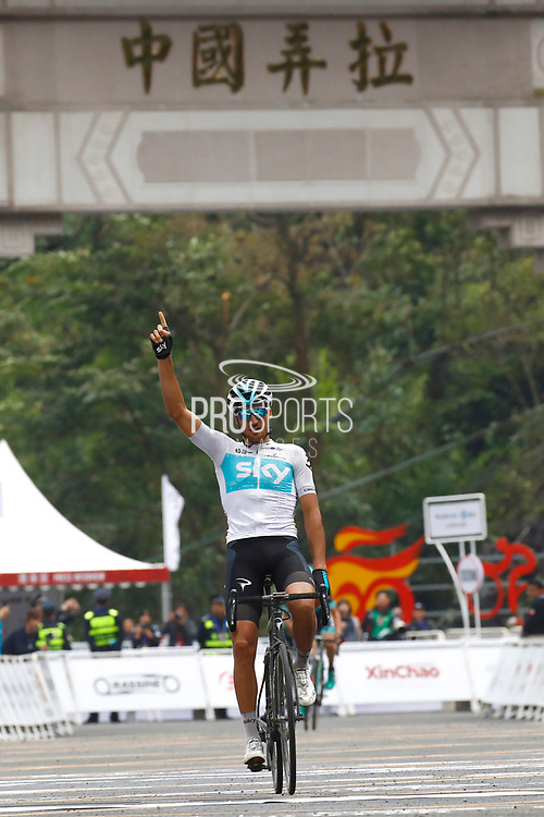 Arrival Gianni Moscon (ITA - Team Sky) winner during the Tour of Guangxi 2018, stage 4 cycling race, Nanning - Nongla Scenic Area (152,2 km) on October 19, 2018 in Nongla, China - Photo Luca Bettini / BettiniPhoto / ProSportsImages / DPPI