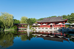 The Tea Pavilion at the Chinese Garden at the Garten der Welt in Marzahn district of Berlin Germany