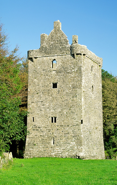 15th C Feartagar Castle, known locally as Jennings Castle, near Tuam, County Galway, Ireland. Once a Burke stronghold, abandoned