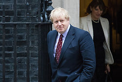 Downing Street, London, February 9th 2017. Foreign and Commonwealth Secretary Boris Johnson in Downing Street as Italian Prime Minister Paolo Gentiloni meets his British counterpart Theresa May.
