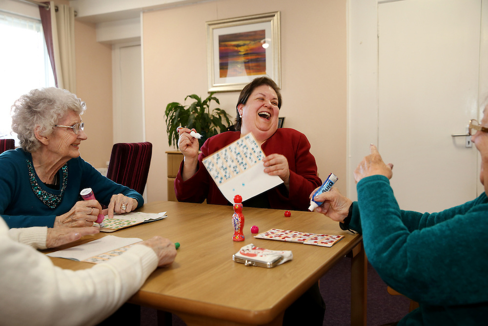 "Labour's Jackie Baillie on a to a visit sheltered housing complex in Dumbarton. Ms Baillie will visit Church Court to meet with residents and take part in the bingo. The moment Ms Baillie won the first game with a full house, she is delighted as she calls ""House"". She declined the £6.00 prize money and left it in the kitty for the next game. Picture Robert Perry for The Herald and Evening Times 28th March 2016<br /> <br /> Must credit photo to Robert Perry<br /> <br /> FEE PAYABLE FOR REPRO USE<br /> FEE PAYABLE FOR ALL INTERNET USE<br /> www.robertperry.co.uk<br /> NB -This image is not to be distributed without the prior consent of the copyright holder.<br /> in using this image you agree to abide by terms and conditions as stated in this caption.<br /> All monies payable to Robert Perry<br /> <br /> (PLEASE DO NOT REMOVE THIS CAPTION)<br /> This image is intended for Editorial use (e.g. news). Any commercial or promotional use requires additional clearance. <br /> Copyright 2016 All rights protected.<br /> first use only<br /> contact details<br /> Robert Perry     <br /> 07702 631 477<br /> robertperryphotos@gmail.com<br />         <br /> Robert Perry reserves the right to pursue unauthorised use of this image . If you violate my intellectual property you may be liable for  damages, loss of income, and profits you derive from the use of this image."