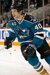 January 6, 2010; San Jose, CA, USA; San Jose Sharks defenseman Kent Huskins (40) before the game against the St. Louis Blues at HP Pavilion. San Jose defeated St. Louis 2-1 in overtime. Mandatory Credit: Jason O. Watson / US PRESSWIRE