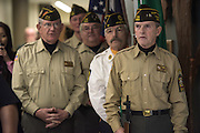 Richard Grinstead, right, of the VFW's Honor Guard of Albany, Ohio leads the presentation of the colors during the ribbon cutting ceremony for the Gladys W. and David H. Patton College of Education's newly renovated McCracken Hall held on January 27, 2017.