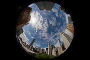 180 degree distorted fish-eye lens cityscape on Broadway, Lower Manhattan, New York City.