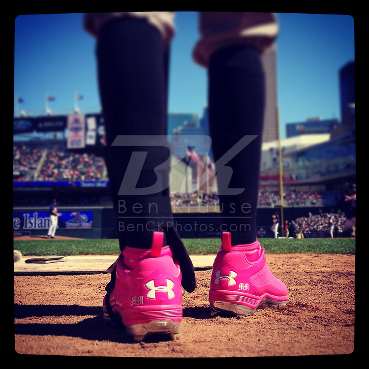 An Instagram of the pink cleats belonging to Manny Machado of the Baltimore Orioles on Mother's Day at Target Field in Minneapolis, Minnesota.