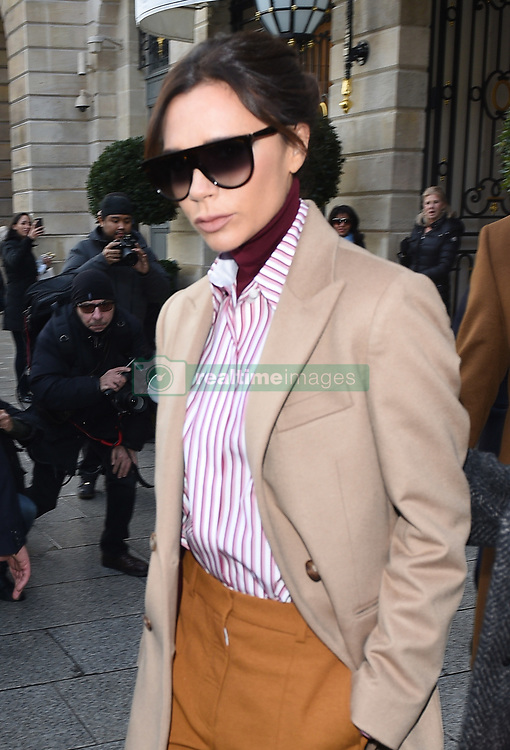 David Beckham, Victoria Beckham and Brooklyn Beckham are seen leaving the Ritz Hotel in Paris<br />