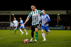 Daniel Hawkins of Blyth Spartans is challenged by Neil Austin of Hartlepool United - Photo mandatory by-line: Rogan Thomson/JMP - 07966 386802 - 05/12/2014 - SPORT - FOOTBALL - Hartlepool, England - Victoria Park - Hartlepool United v Blyth Spartans - FA Cup Second Round Proper.