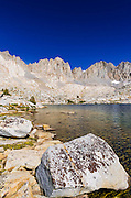 The Palisades above lake in Dusy Basin, Kings Canyon National Park, California USA