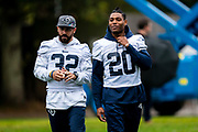 LA Rams Defensive back Jalen Ramsey (20) and LA Rams Defensive back Eric Weddle (32)during the training session for Los Angeles Rams at the Los Angeles Memorial Coliseum, Los Angeles, USA on 25 October 2019.