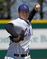 Kansas State starting pitcher Chase Bayuk fires in a pitch against Missouri at Tointon Stadium in  Manhattan, Kansas, April 7, 2007.  Kansas State lost to Missouri 3-0.