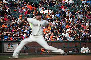 Fans watch as San Francisco Giants starting pitcher Matt Moore (45) pitches against the Colorado Rockies at AT&T Park in San Francisco, California, on September 20, 2017. (Stan Olszewski/Special to S.F. Examiner)