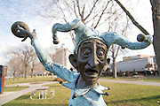 Minnesota USA, The old train station or depot in Red Wing a sculpture of a jester juggling teacups November 2006