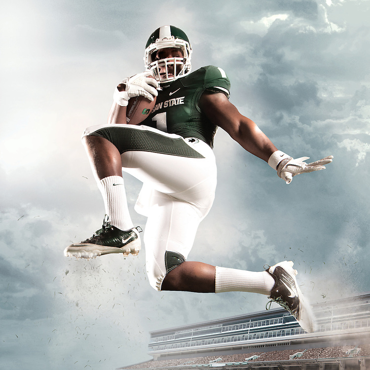 LeVeon Bell, Promotional Athlete Portrait for Michigan State University Athletic Department.  Photo composite used on the exterior of Spartan Stadium 30'x30'.<br /> <br /> Photo Copyright: Matthew Mitchell Photography / MSU Athletic Communications