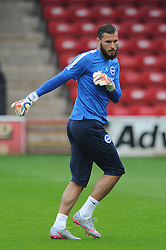 Niki Maenpaa of Brighton & Hove Albion warms up ahead if the capital one game against Walsall - Mandatory byline: Dougie Allward/JMP - 07966386802 - 25/08/2015 - FOOTBALL - Bescot Stadium -Walsall,England - Walsall v Brighton - Capital One Cup - Second Round