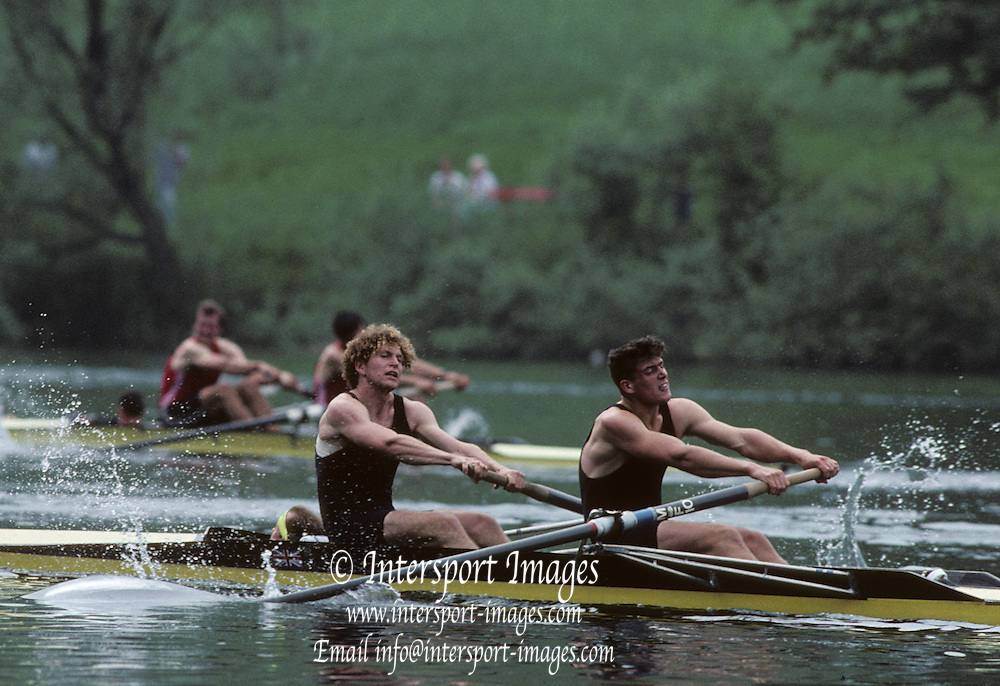 Lucerne, SWITZERLAND  GBR M2+ Bow Jonny SEARLE and stroke Greg SEARLE with cox Gary HERBERT. 1992 FISA World Cup Regatta, Lucerne. Lake Rotsee.  [Mandatory Credit: Peter Spurrier: Intersport Images] 1992 Lucerne International Regatta and World Cup, Switzerland