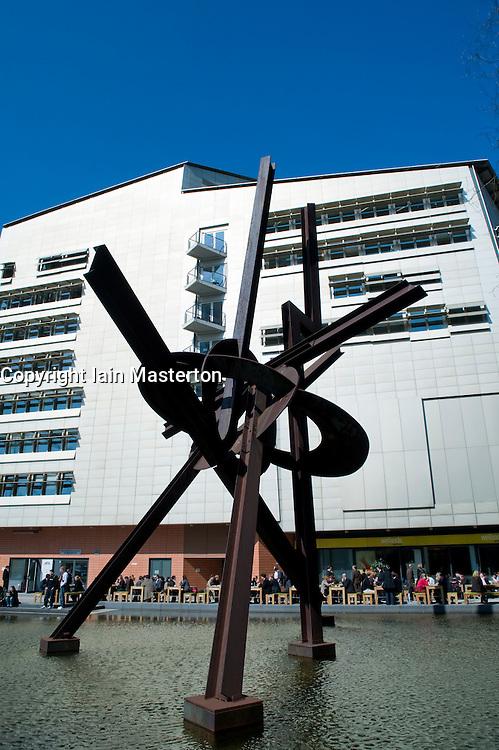 Modern sculpture and building in Potsdamer Platz in Mitte Berlin 2009