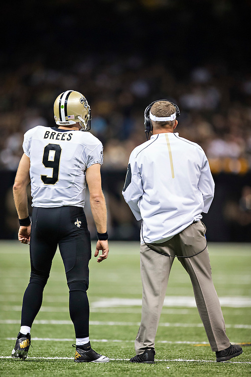 NEW ORLEANS, LA - SEPTEMBER 20:  Head Coach Sean Payton and Drew Brees #9 of the New Orleans Saints on the field during a game against the Tampa Bay Buccaneers at Mercedes-Benz Superdome on September 20, 2015 in New Orleans Louisiana. The Buccaneers defeated the Saints 26-19.  (Photo by Wesley Hitt/Getty Images) *** Local Caption *** Drew Brees; Sean Payton