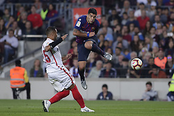 October 20, 2018 - Barcelona, Catalonia, Spain - October 20, 2018 - Camp Nou, Barcelona, Spain - LaLiga Santander- FC Barcelona v Sevilla CF; Luis Suarez of FC Barcelona kicks the ball  (Credit Image: © Marc Dominguez/ZUMA Wire)