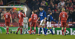 LIVERPOOL, ENGLAND - Tuesday, February 19, 2008: FC Internazionale Milano's Marco Materazzi looks dejected as he is sent off for a second yellow card against Liverpool during the UEFA Champions League First Knockout Round 1st Leg match at Anfield. (Photo by David Rawcliffe/Propaganda)
