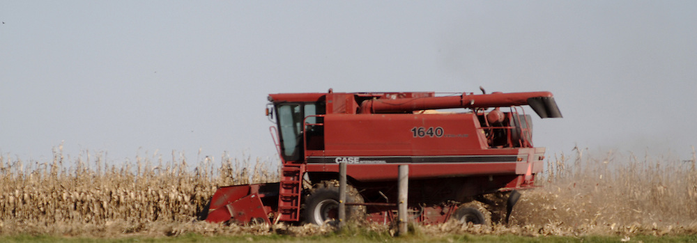 29 October 2006:  International Combines are popular for harvesting.  The corn harvest in Rural McLean County, Illinois is coming to an end.<br />