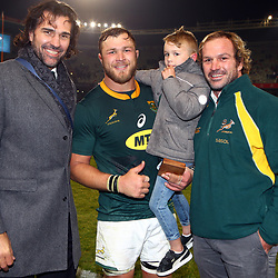 Victory Matfield with Duane Vermeulen of South Africa and Jannie du Plessis during the 2018 Castle Lager Incoming Series 2nd Test match between South Africa and England at the Toyota Stadium.Bloemfontein,South Africa. 16,06,2018 Photo by (Steve Haag JMP)