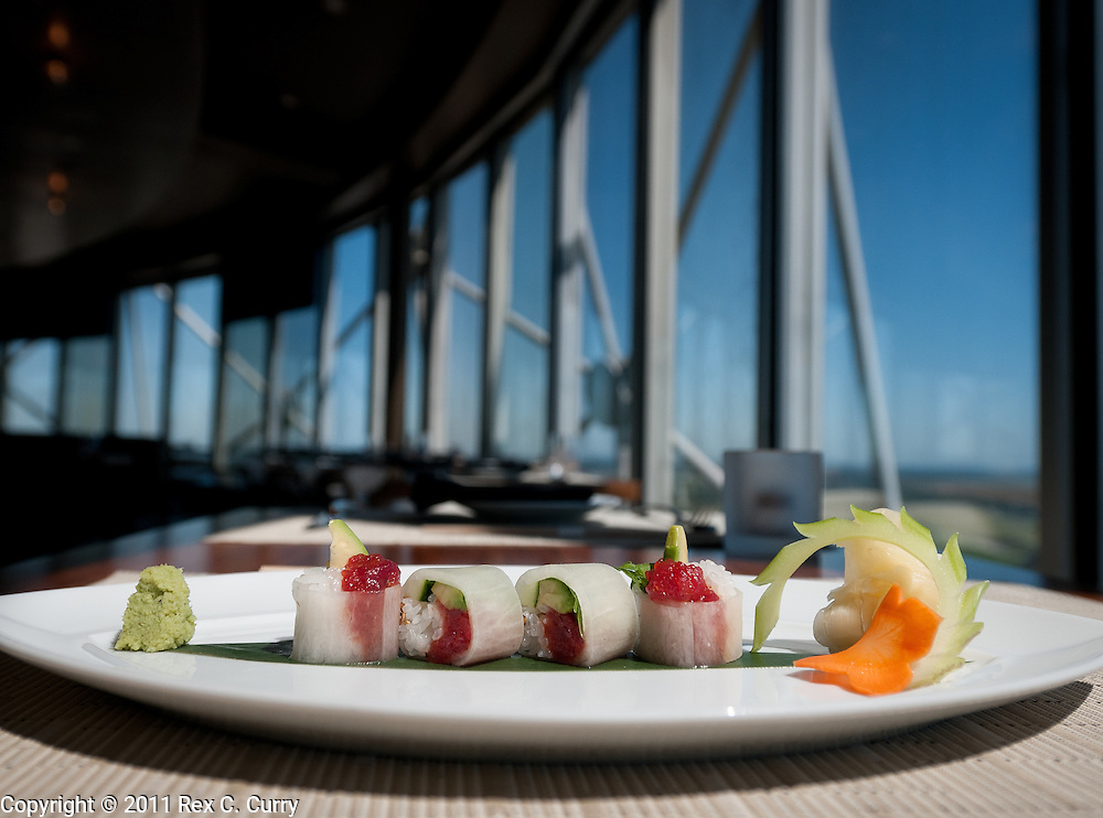 Spicy tuna, with marinated Daikon at Wolfgang Puck's Five Sixty...