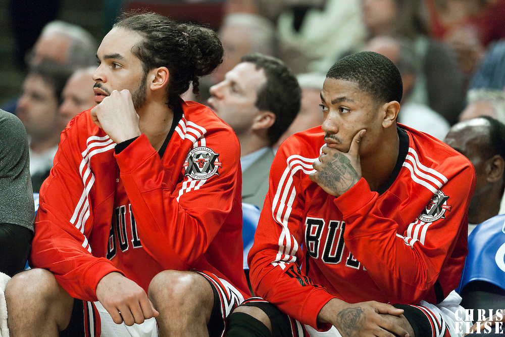 04 May 2011: Chicago Bulls center Joakim Noah (13) and Chicago Bulls point guard Derrick Rose (1) are seen on the bench during the Chicago Bulls 86-73 victory over the Atlanta Hawks, during game 2 of the Eastern Conference semi finals at the United Center, Chicago, Illinois, USA.