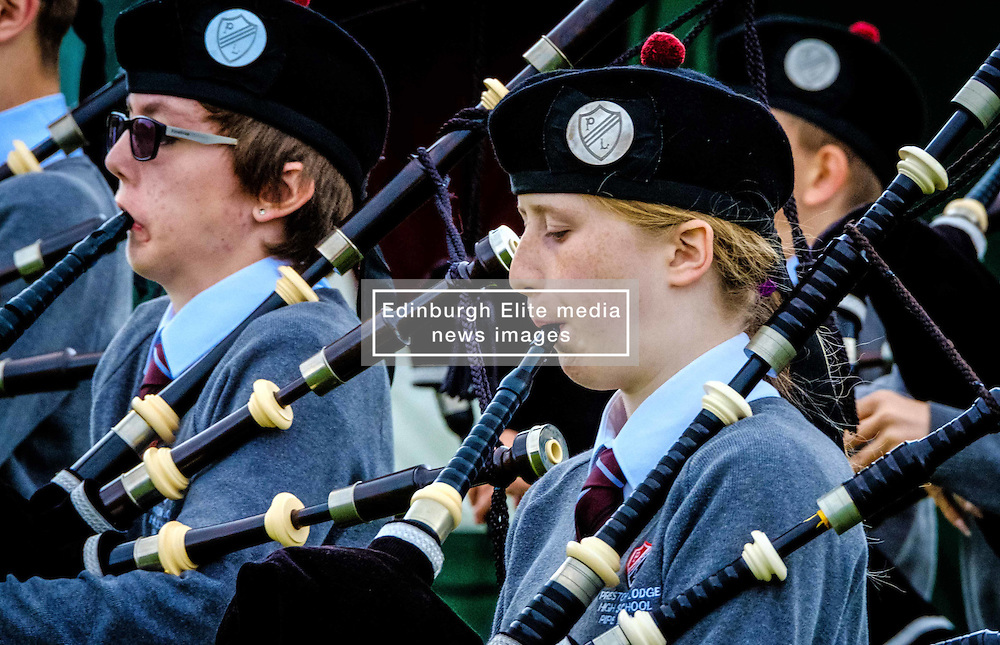Peebles, Scotland UK  3rd September 2016. Peebles Highland Games, the biggest 'highland' games in the Scottish  Borders took place in Peebles on September 3rd 2016 featuring pipe band contests, highland dancing competitions, haggis hurling, hammer throwing, stone throwing and other traditional events.<br /> <br /> Pictured:  a young piper warms up before the competition<br /> <br /> (c) Andrew Wilson | Edinburgh Elite media