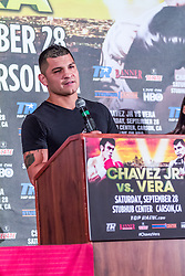 LOS ANGELES, California/USA (Friday, Aug 23 2013) - Pro boxer Bryan Vera (46-1-1, 32 KOs) attends the press conference at the Millenium Biltmore Hotel to announce the Chavez jr vs Vera fight next September 28 at the StubHub Center in Carson, CA. Los Angeles,CA USA. 29th August 2013. Fees must be agreed for image use. Byline, credit, TV usage, web usage or linkback must read: © SILVEXPHOTO.COM.
