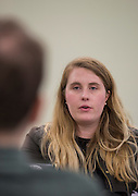 Ariel Taylor talks to others about her pitch, Enchanted Home of Lost Books, during Startup Weekend Athens at the Ohio University Innovation Center on March 19, 2016.