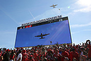Nov 25, 2018; Tampa, FL, USA; Fighter plane fly over before an NFL game between the Tampa Bay Buccaneers and the San Francisco 49ers at Raymond James Stadium. The Buccaneers beat the 49ers 27-9. (Steve Jacobson/Image of Sport)