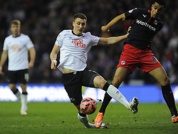 Reading Nick Blackman Battles with Derby Craig Forsyth, Derby County v Reading, FA Cup 5th Round, The Ipro Stadium, Saturday 14th Febuary 2015