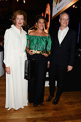 Left to right, JULIA PEYTON-JONES, TRACEY EMIN winner of the Serpentine Gallery GQ Art Award and HANS ULRICH OBRIST at the GQ Men of The Year Awards 2013 in association with Hugo Boss held at the Royal Opera House, London on 3rd September 2013.