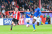 Jabo Ibehre (14) of Carlisle United on the attack during the EFL Sky Bet League 2 match between Exeter City and Carlisle United at St James' Park, Exeter, England on 6 May 2017. Photo by Graham Hunt.