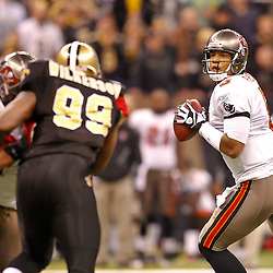 January 2, 2011; New Orleans, LA, USA; Tampa Bay Buccaneers quarterback Josh Freeman (5) against the New Orleans Saints during the second quarter at the Louisiana Superdome. Mandatory Credit: Derick E. Hingle